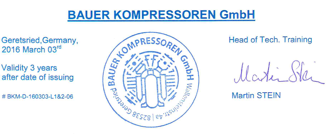 Certificado Curso Bauer Advanced Compressor